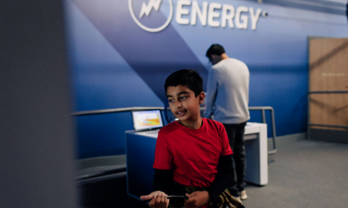 Boy playing in Aberdeen Science Centre Energy Zone
