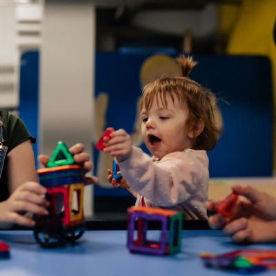 Toddler playing in soft play under 6s in Aberdeen Science Centre